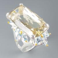 Green Amethyst Ring Silver 925 Sterling Handmade25ct+ Size 9 /R129888