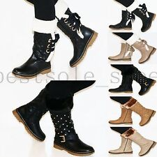 LADIES WOMENS' BLOCK FUR LINED ZIPPED KNEE HIGH WINTER SHOES BOOTS UK SIZE 3-8