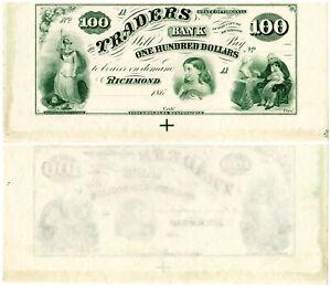 US Virginia Richmond $100 VA195G10 (1860s) Traders Bank **Uncut** UNC