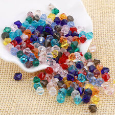 Wholesale 100x Mixed Faceted Glass Crystal Loose Bicone Spacer Charms Bead 6mm#