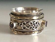Bright Amethyst Stone Solid 925 Sterling Silver Spinner Ring Meditation Ring Size V919 Fine Jewelry Gemstone