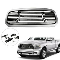 New Front Big Horn Chrome Packaged Grille+ Shell For 2013-2018 Dodge Ram 1500 T.