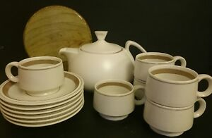 Vintage Diana Tea / Stoneware Coffee Setting for 6  Pot strainer / infuser VGC
