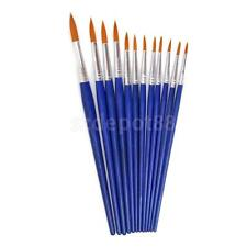 12 Wooden Fine Pointed Tip Paint Brush Decorating Model Painting Hobby Craft