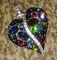 Brighton Trust Your Journey Heart Necklace MULTI Swarovski Crystals Tags & Pouch