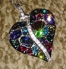 Trust Your Journey Sparkling Crystal  Multicolored Heart Necklace ~ Tags & Pouch