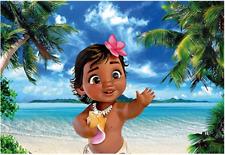 Cartoon Baby Moana Birthday background Photo backdrops Waialiki Maui PartyBanner