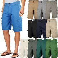 Mens Twill Cargo Shorts with Belt 30 40 Short Pants Summer Multi Pocket Vacation