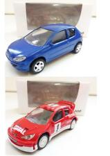 Lot de 2 Peugeot 206 (Berline Bleu, Rallye Rouge) 1/64 NOREV NEUF
