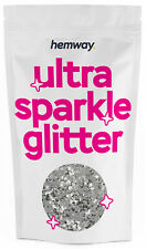 """Hemway EXTRA CHUNKY Glitter Silver Sparkle 1/24"""" 0.040"""" 1mm 1000microns"""