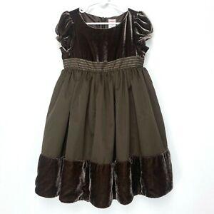 Gymboree Girls Velvet Fit & Flare Dress Size 5T Brown Tulle Fancy Short Sleeve