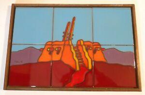 """TAVLOS Signed Hand-Painted Tile Art Southwestern Scene Mural Kiva T-2 (18""""x12"""")"""
