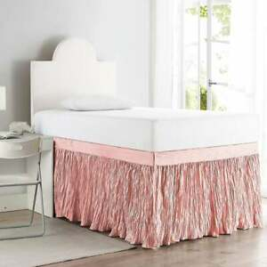 "New Crinkle Twin XL 30"" Drop 3 Panel Dorm Bed Skirt bedskirt Rose Quartz Pink"