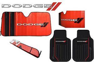 3 Pc Dodge Elite Front Rubber Floor Mats + Sun Shade Visor Red/Black Universal