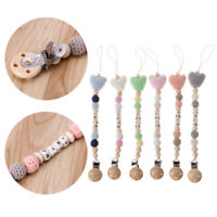 Wooden Bead Dummy Clips Holder Pacifier Clips Soother Chains Baby Teething Toy