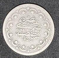 1861 Turkey 5 Kurus  #34 Silver Crescent Moon And Star   (778)