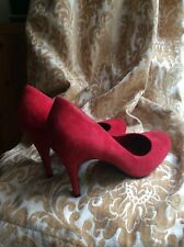 JESSICA SIMPSON NEW red suede high heeled Court Shoes UK 6.5