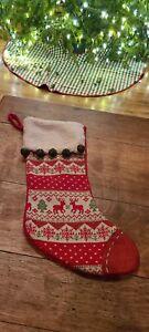 "Christmas Stocking Fair Isle w/ReindeerJingle Bells Sherpa Cuff 20.5"""