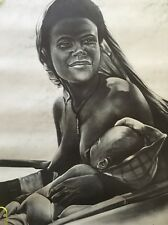 Vintage Poster Mother & Child George Stewart African American Woman Baby 1970s