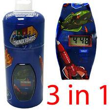 3 IN 1 THUNDERBIRDS LCD FUN CHARACTER WATCH DIGITAL KIDS NICKELODEON MONEY TIN