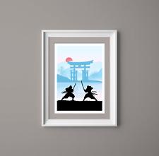 Japanese Samurai Fighting Art Print,Landscape, Home Decor, Japan Art Print, Blue