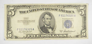 RARE - Crisp 1953-A - Silver Certificate $5 Blue Seal $5.00 Higher Grade! *099
