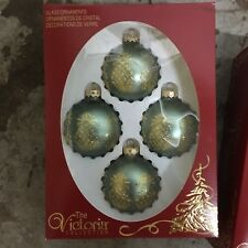 """NIB Rauch Victoria Collection 4 Green Pineapple 2.5"""" Glass Christmas Ornament"""