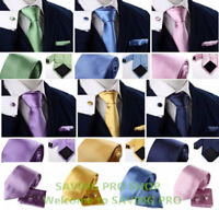 3PCS Solid Plain Classic Skinny 100% New Silk Woven Slim Necktie Men's Tie Set