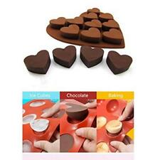 10 Sweet Hearts Silicone Chocolate Cake Cookie Mould Baking Valentine Jelly Z