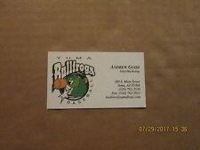 Yuma Bullfrogs Baseball Sales Marketing Logo Baseball Business Card