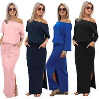 Fashion Womens Short/Long Sleeve Long Maxi BOHO Evening Party Cocktail Dress