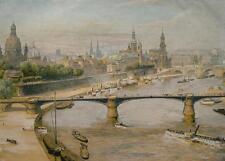 Dresden Elbe Brühlsche Terasse Zwinger Friedrich-August-Brücke Raddampfer 1912