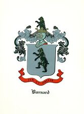 *Great Coat of Arms Barnard Family Crest genealogy, would look great framed!