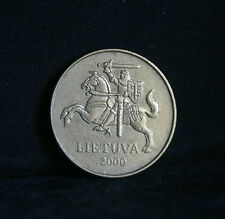 2000 Lithuania 50 Centu World Coin KM108 Amor clad Knight on Horse with Sword
