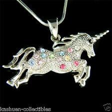 w Swarovski Crystal Rainbow One Horn HORSE ~UNICORN~ Myth Fairy Pendant Necklace