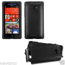HTC Windows Phone 8X Fusion Hybrid Case Skin Cover Accessory Black Black