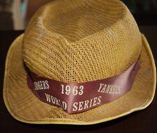 1963 DODGERS YANKEES WORLD SERIES BASEBALL DERBY STYLE HAT W/ RIBBON BAT CHARM