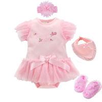 Newborn baby girls summer bodysuit+headband+shoes+ bib party baby shower gift