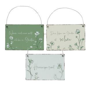 3tlg. Hängeschild NATURGARTEN grün weiß 21x14cm Metall Gartenschild mit Spruch