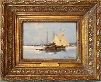 French Harbor Boats E. Galien Laloue listed oil on Bd Certified By Noé WILLER