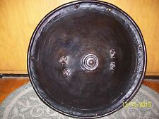 "VINTAGE/ANTIQUE TRIBAL WARRIOR SHIELD. MADE OF ANIMAL HIDE. 20"" DIAM."