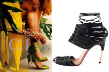 a424ca5b6ca Gucci Tom Ford Black Satin Lace Up Corset Sandals w  Gold Bamboo Heel Size  38C