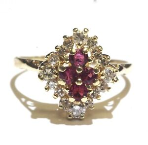 14k yellow gold .48ct SI2 H diamond Natural ruby gemstone ring 4.7g cluster