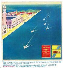 PUBBLICITA' 1934 AERO SHELL DYNAMIN LATTA BENZINA OLIO VENEZIA SCAFI NICOULINE