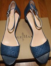 $228 COLE HAAN BLUE ROSALIN WEAVE WEDGE LEATHER SANDAL SZ 9.5B
