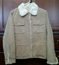 Women Wilsons Leather Maxima Light Brown Button Front Fur Collar Jacket L Large