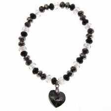 Swarovski Elements Silver Night Crystal Bracelet with Flat back Heart Brand new