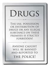 More details for no drugs sign pub bar restaurant licensed premises notice anti drugs warning