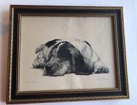"Victor Becker ""Nobody's Darlin'"" 50/50 1930s Pencil Drawing Spaniel Dog"