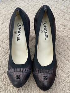 BRAND NEW AUTHENTIC CHANEL BLACK PUMPS HEELS SHOES SANDALS 38.5 40.5 FREE SHIP